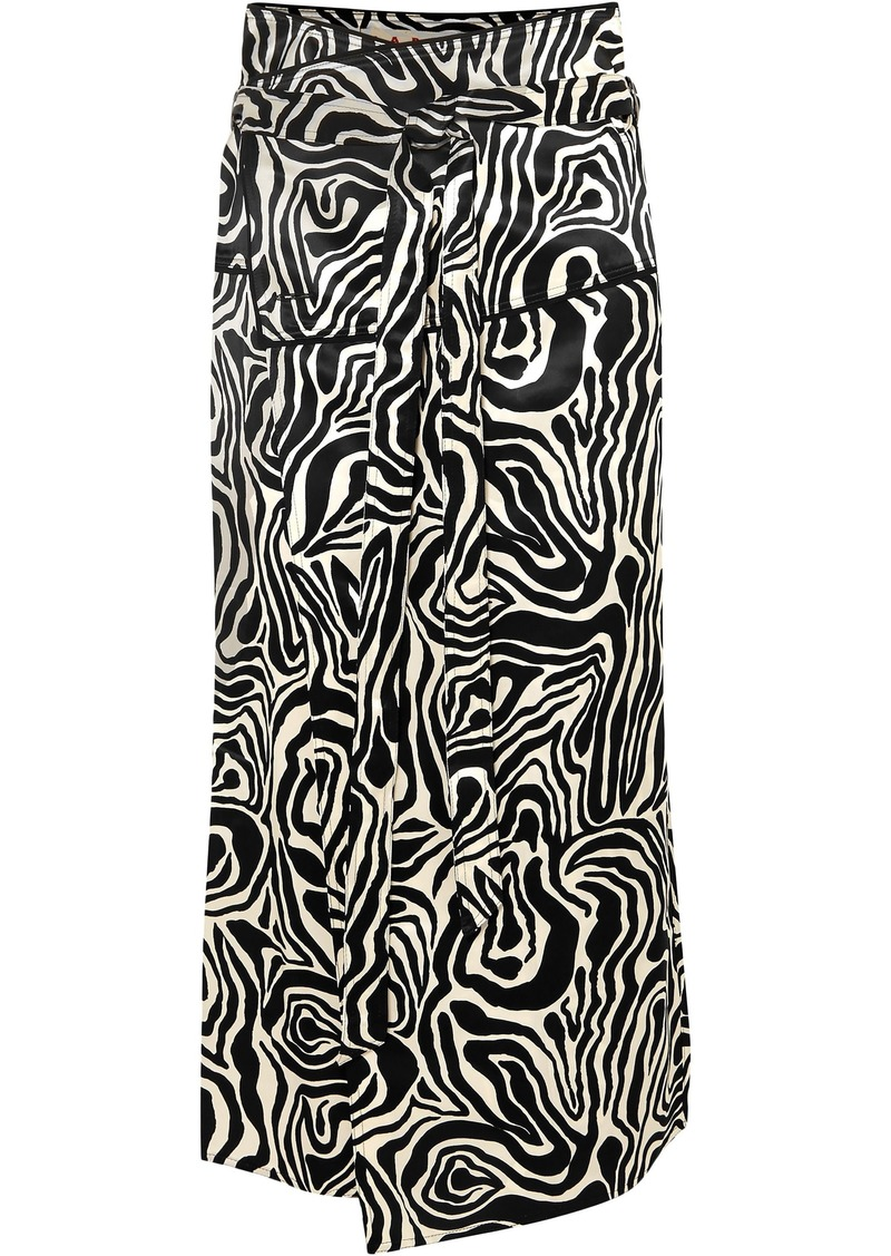 Marni Woman Zebra-print Satin Wrap Midi Skirt Black
