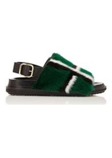 Marni Women's Fur-Trimmed Slingback Sandals