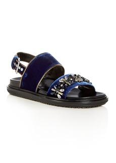 Marni Women's Fusbett Embellished Velvet Slingback Sandals