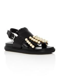 Marni Women's Fussbett Embellished Fringe Leather Slingback Sandals