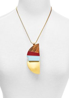 "Marni Wood & Resin Pendant Necklace, 24"""
