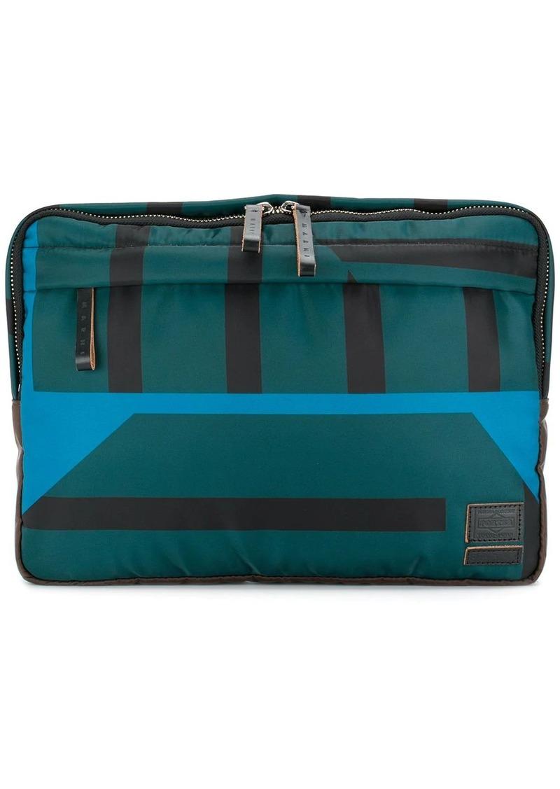 Marni x Porter striped clutch bag