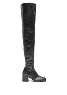 Marni Zipped distressed-leather over-the-knee boots