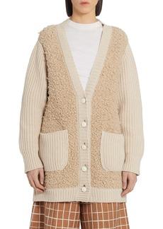 Marni Fleece Panel Cashmere Blend Cardigan