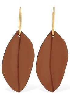 Marni Nature Leather Leaf Pendant Earrings