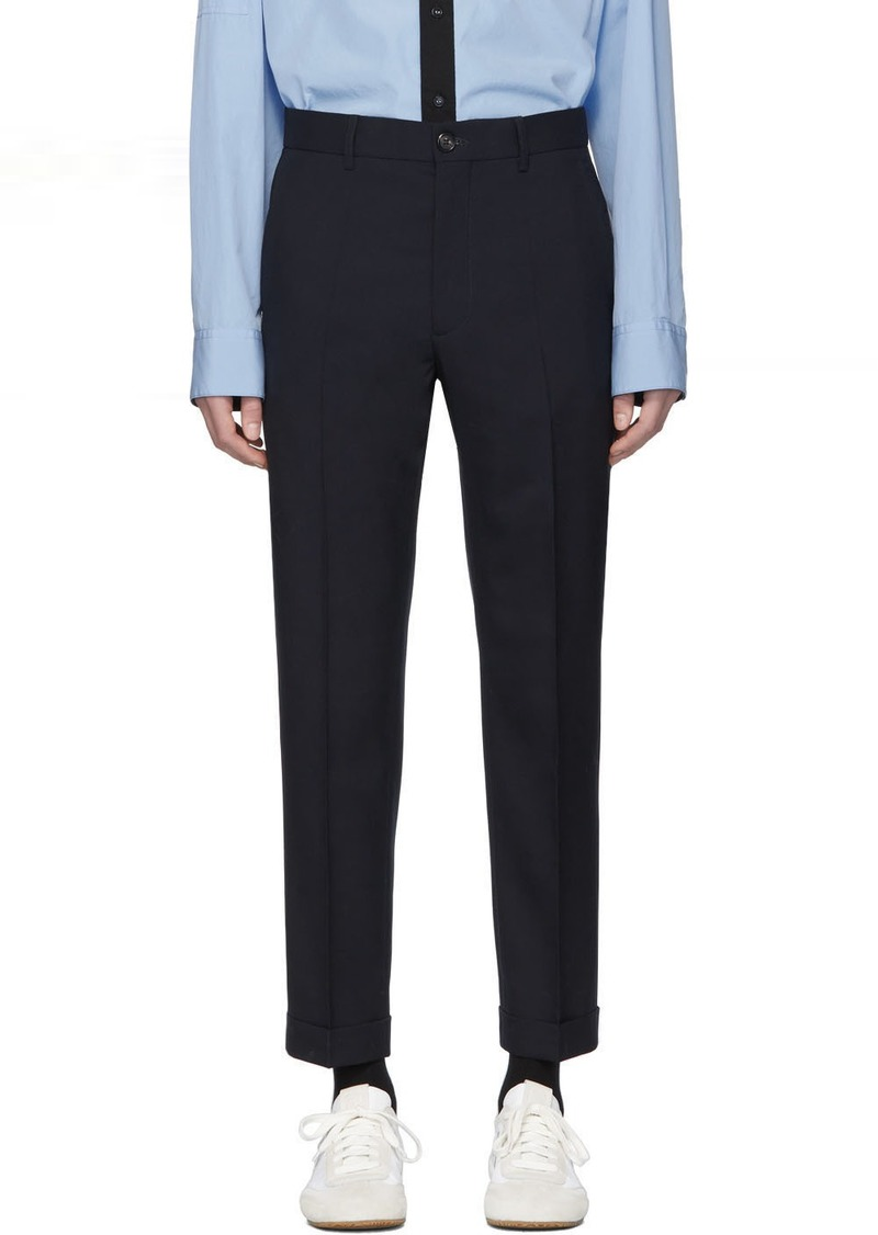 Marni Navy Tropical Wool Trousers