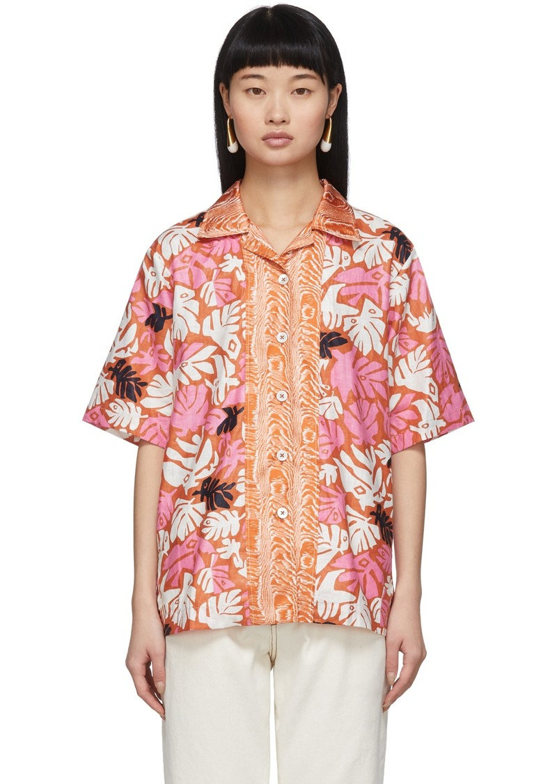 Marni Orange Retro Leaves Shirt
