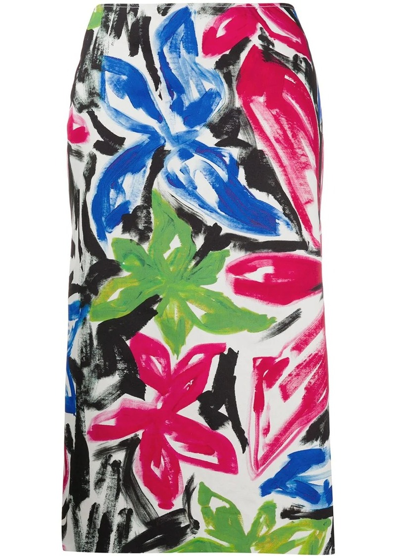 Marni paintbrush effect straight midi skirt