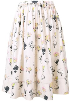 Marni painted rose skirt