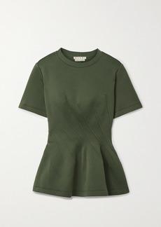Marni Paneled Cotton-blend Jersey Peplum T-shirt