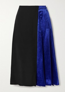 Marni Paneled Pleated Cupro-satin And Crepe Midi Skirt