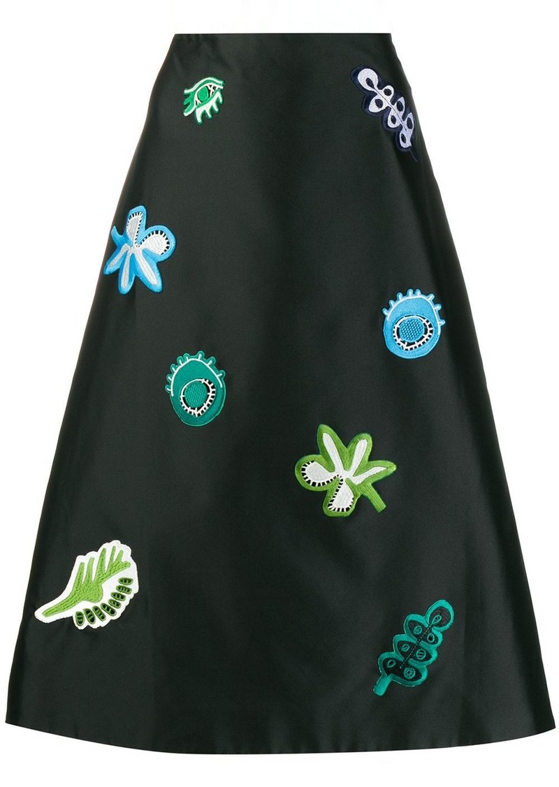 Marni patch-embellished A-line skirt