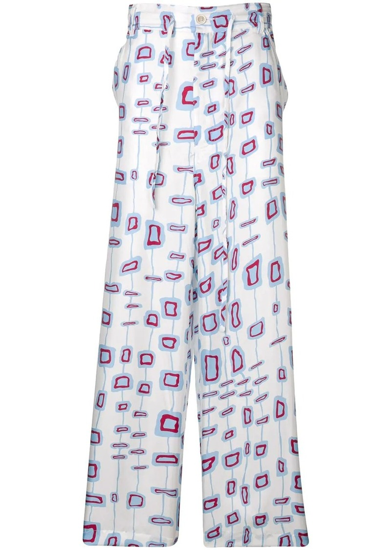 Marni patterned loose fit trousers