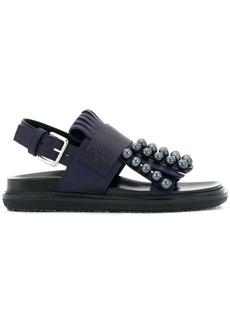 Marni pearl embellished fringed sandals