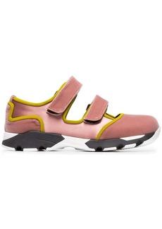 Marni pink double strap velvet cotton silk blend sneakers