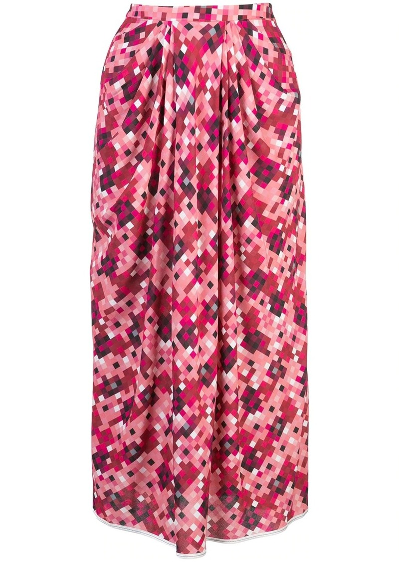 Marni pixel print pleated midi-skirt