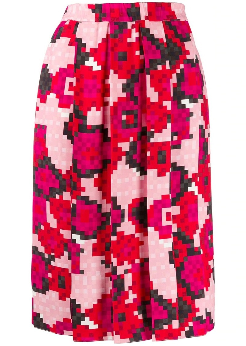 Marni pixel print pleated skirt