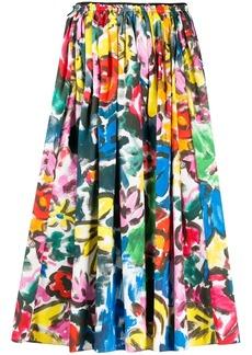 Marni pleated brushstroke midi skirt