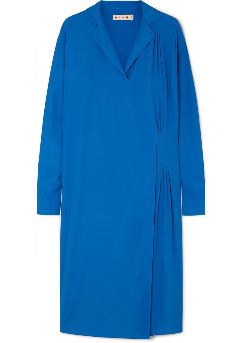 Marni Pleated Crepe De Chine Midi Dress