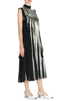 Marni Pleated Metallic Midi Shift Dress