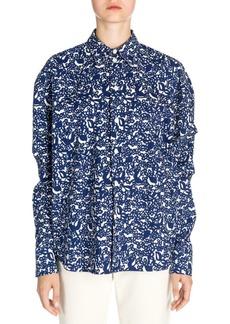 Marni Poplin Oversize Button-Down Print Shirt