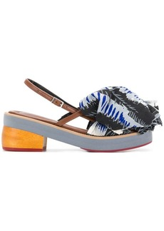 Marni printed ruffle front sandals