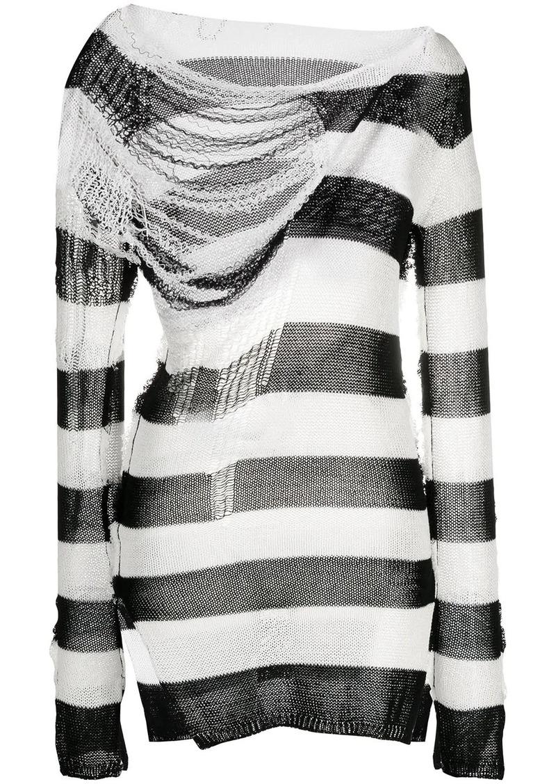 rip-detail striped jumper