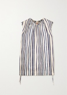 Marni Ruched Striped Silk-twill Top