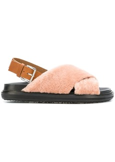 Marni shearling crisscross sandals
