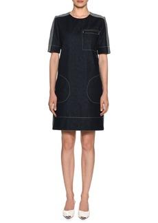 Marni Short-Sleeve Denim Shift Dress w/ Stitch Detailing