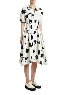 Marni Short-Sleeve Floral Gabardine Dress