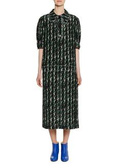 Marni Short-Sleeve Macro Tweed Print Silk Woven Mid-Calf Dress