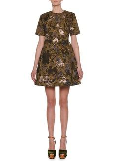 Marni Short-Sleeve Photo Camo-Print Cotton Woven A-Line Mini Dress