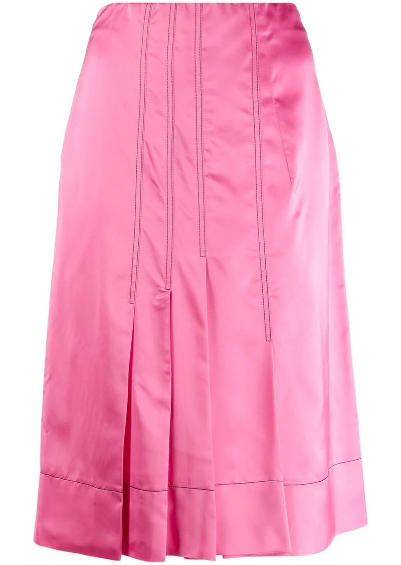 Marni silk effect pleated skirt