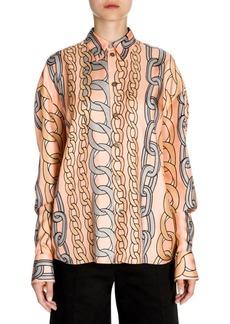Marni Silk Twill Button-Down Chain Print Shirt