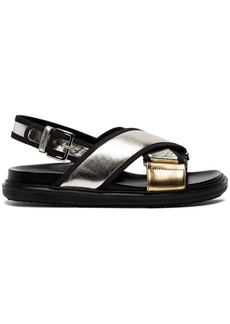 Marni Silver Gold Fusbett Leather sandals