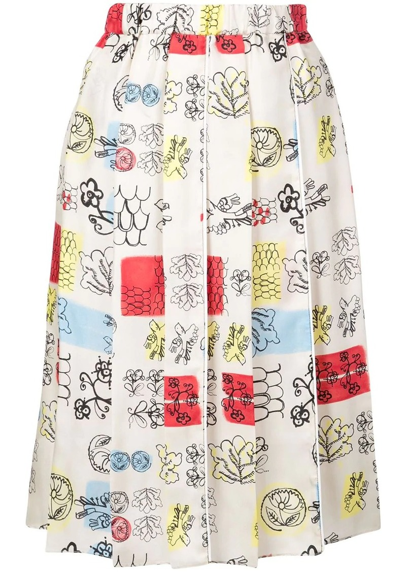 Marni sketch print skirt
