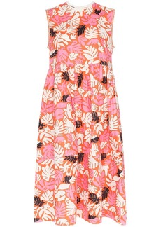 Marni sleeveless leaf print midi dress