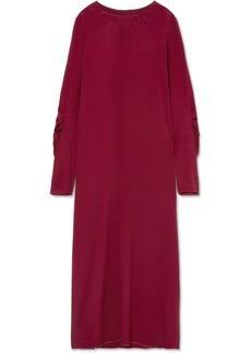 Marni Smocked Crepe De Chine Maxi Dress