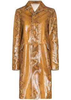 Marni snakeskin-print single-breasted coat
