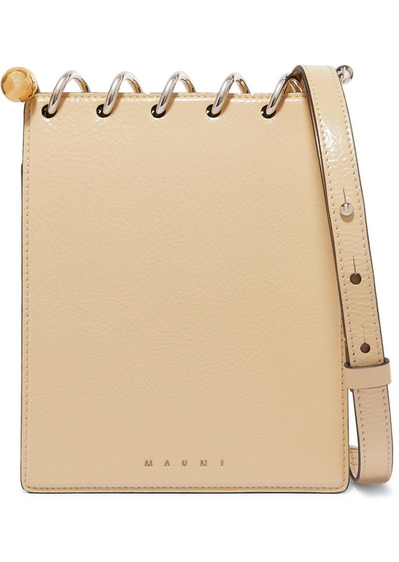 Marni Spring Small Embellished Textured Patent-leather Shoulder Bag