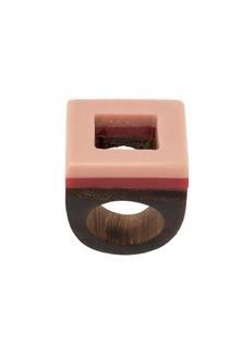 Marni square wood ring