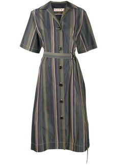 Marni stripe pattern belted dress