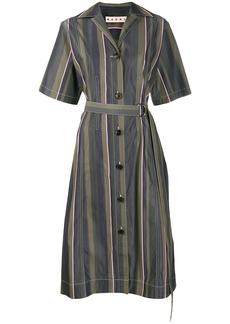 Marni stripe pattern belted dress
