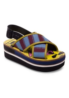 Marni Striped Criss Cross Leather Color Block Wedge Sandals