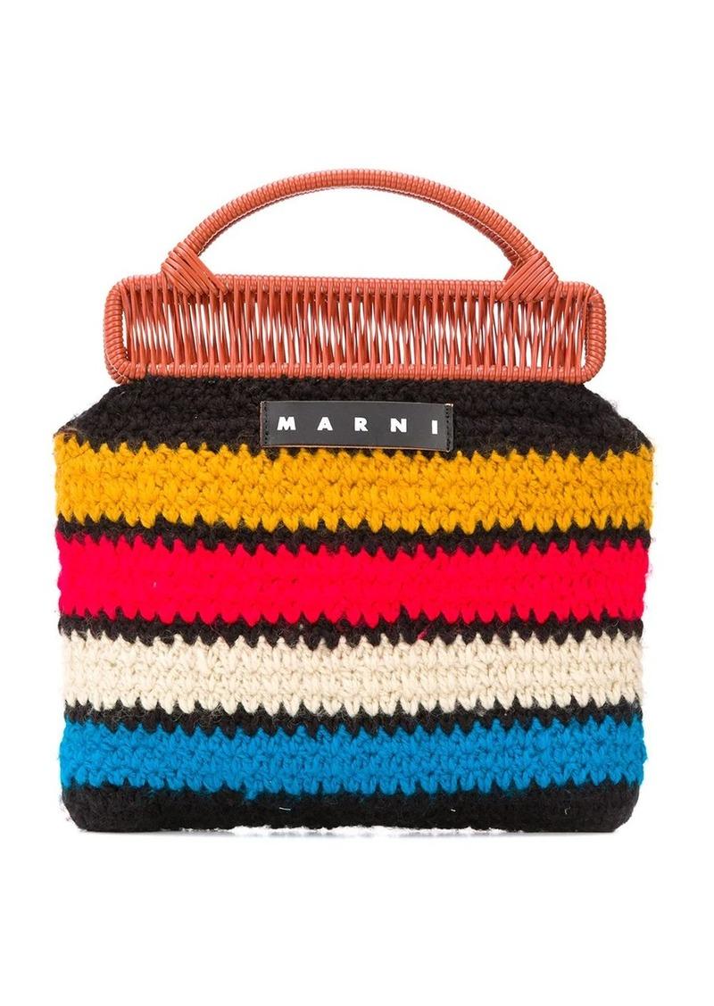 striped knit tote bag