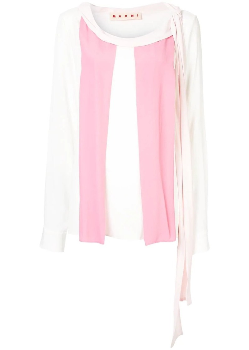 Marni textured colour block blouse