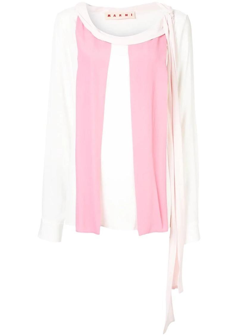 Marni textured colour block blouse