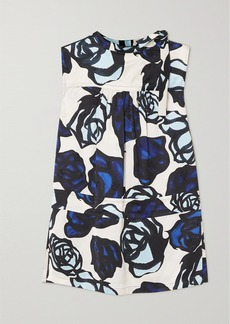 Marni Tie-detailed Floral-print Satin-jacquard Blouse
