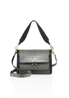 Marni Trunk Croc-Embossed Leather Crossbody Bag